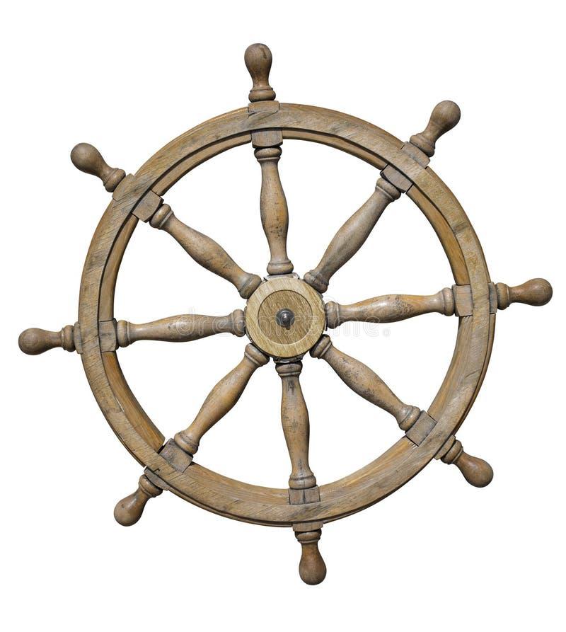 Рулевое колесо корабля изолированное на белизне с путем клиппирования стоковые фото