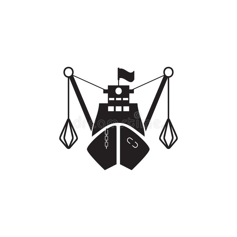 рыбацкая лодка в переднем значке Элемент иллюстрации корабля Наградной качественный значок графического дизайна Знаки и значок f  иллюстрация штока