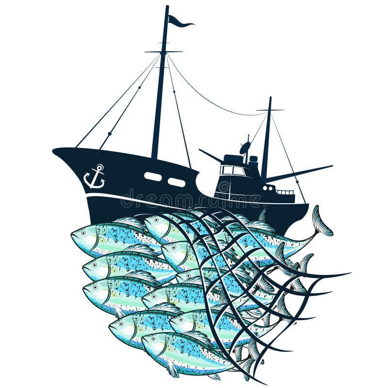 Рыбацкая лодка и рыбы в fishnet иллюстрация вектора