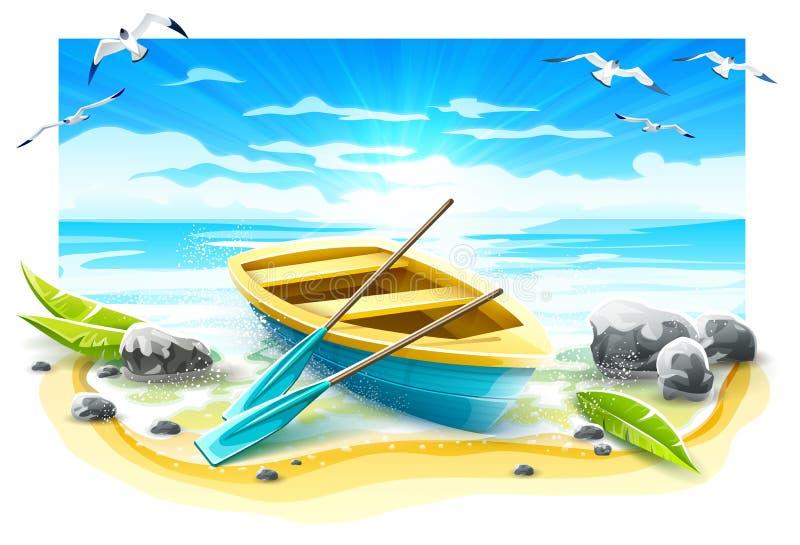 Рыбацкая лодка с затворами на острове рая r иллюстрация вектора