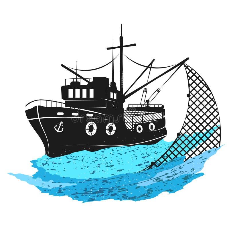 Рыбацкая лодка с сетями иллюстрация вектора