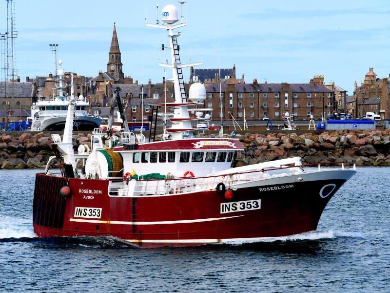 Рыбацкая лодка Rosebloom INS353 уходя стоковые фото