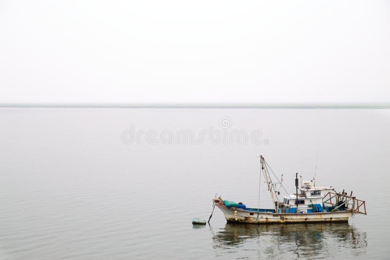 Рыбацкая лодка в тумане стоковое изображение rf