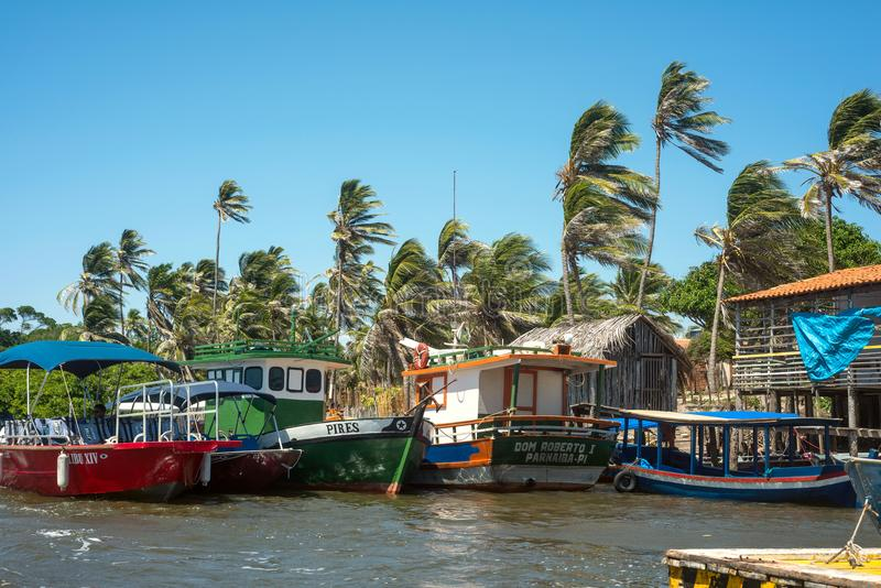 Рыбацкие лодки в национальном парке Lencois стоковое фото