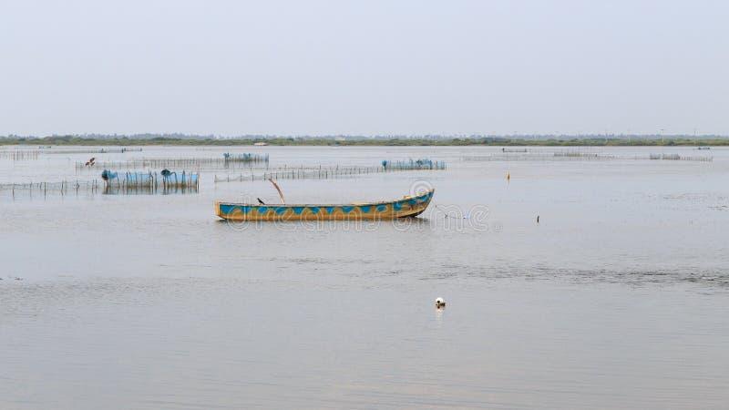 Рыбацкие лодки и лагуна на Джафне - Шри-Ланке стоковые изображения rf