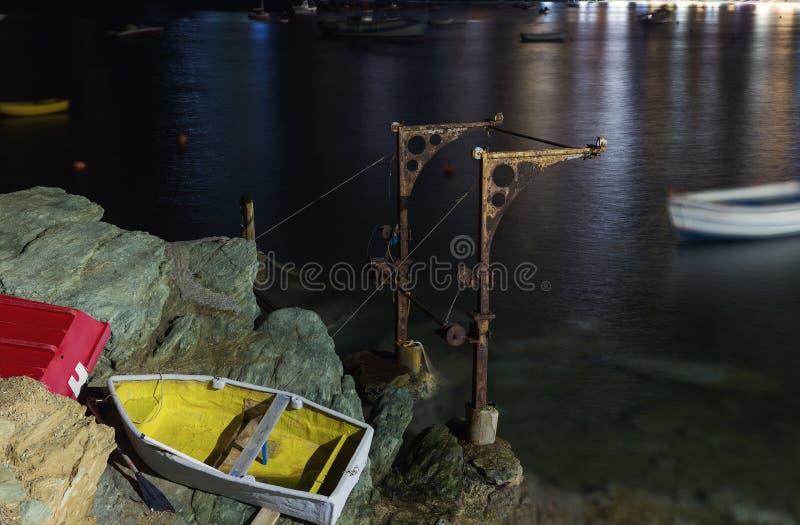 Рыбацкие лодки в ноче стоковое фото