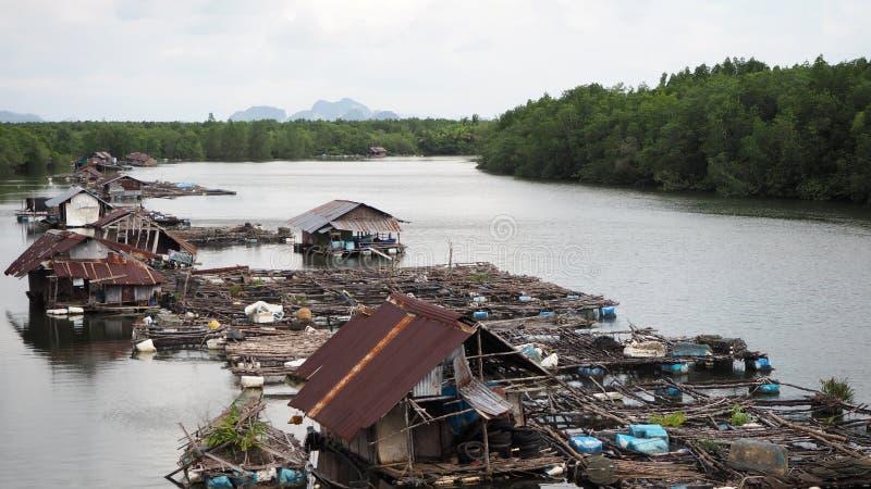 Рыбацкий поселок Хижины, лачуги, сплоток и понтон плавают в реку Phang Nga Таиланд стоковая фотография rf