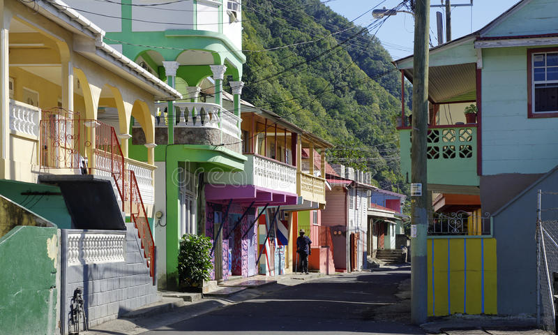 Рыбацкий поселок головы Scotts в Доминике стоковое изображение