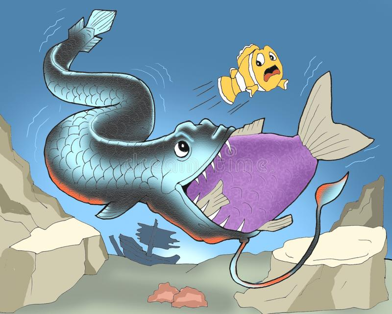 Рыба дракона ест другой мультфильм рыб иллюстрация вектора