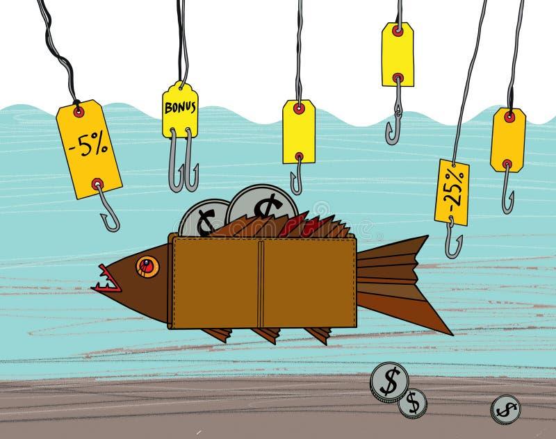 Рыбная ловля дела Скидки и бонусы крюков рыбной ловли удя бумажник с монетками доллара иллюстрация штока