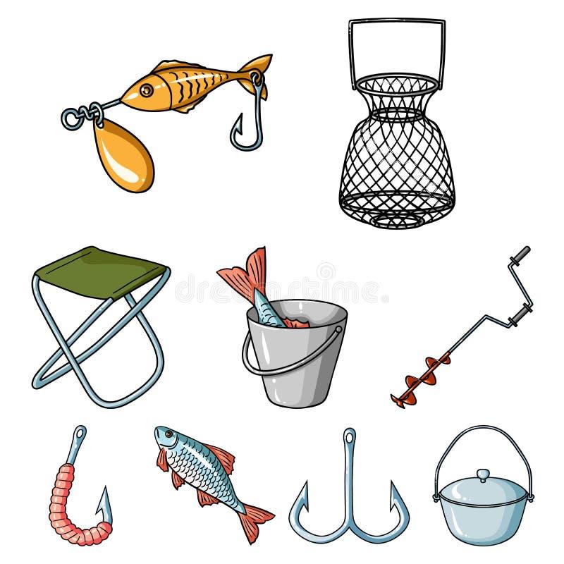 Рыбная ловля лета и зимы, внешнее воссоздание, рыбная ловля, рыба Значок рыбной ловли в собрании комплекта на векторе стиля шаржа иллюстрация штока