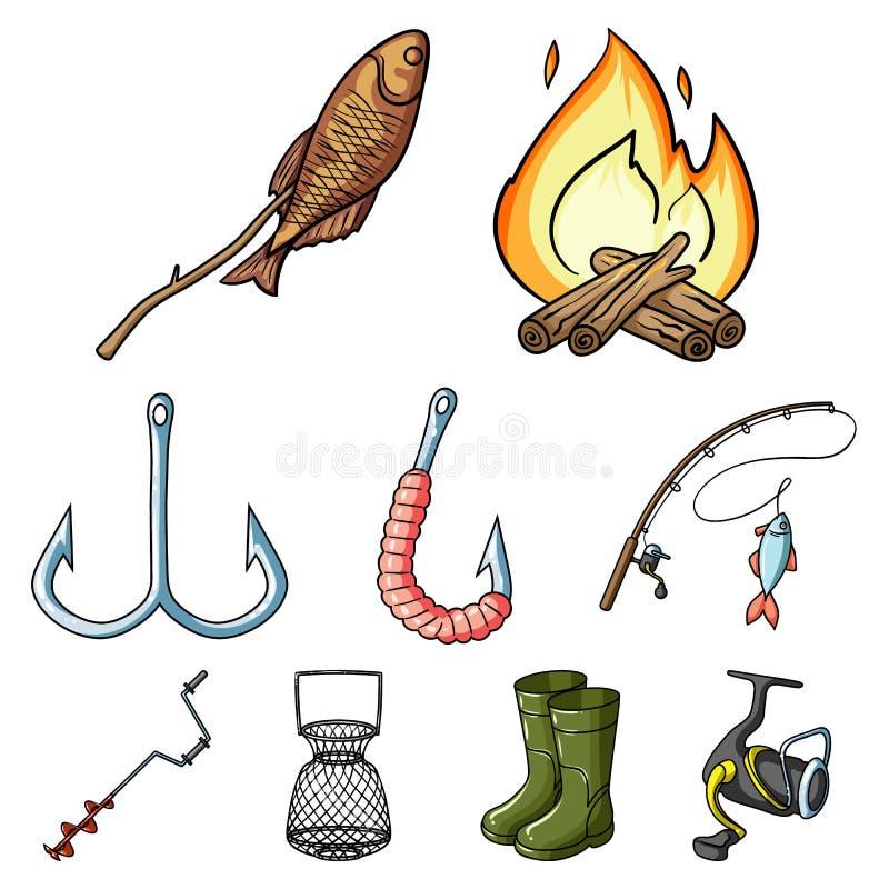 Рыбная ловля лета и зимы, внешнее воссоздание, рыбная ловля, рыба Значок рыбной ловли в собрании комплекта на векторе стиля шаржа иллюстрация вектора