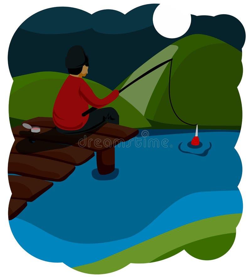 Рыбная ловля лета Рыболов молодости сидит на деревянном мосте, его ногах качая в воду, и удить Яркие теплые цвета смешно иллюстрация вектора