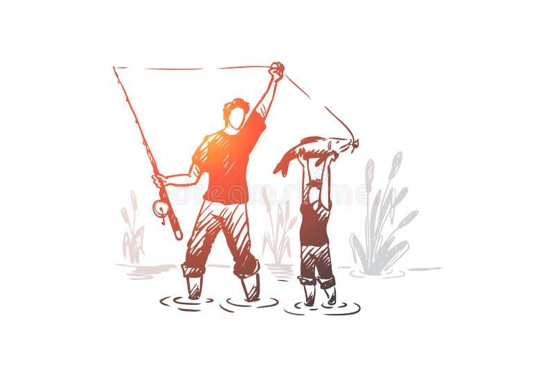 Рыбная ловля, отец, сын, концепция семьи Вектор нарисованный рукой изолированный бесплатная иллюстрация