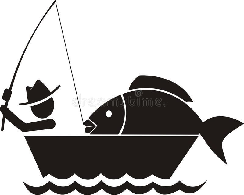 Рыбная ловля получает большой символ рыб бесплатная иллюстрация