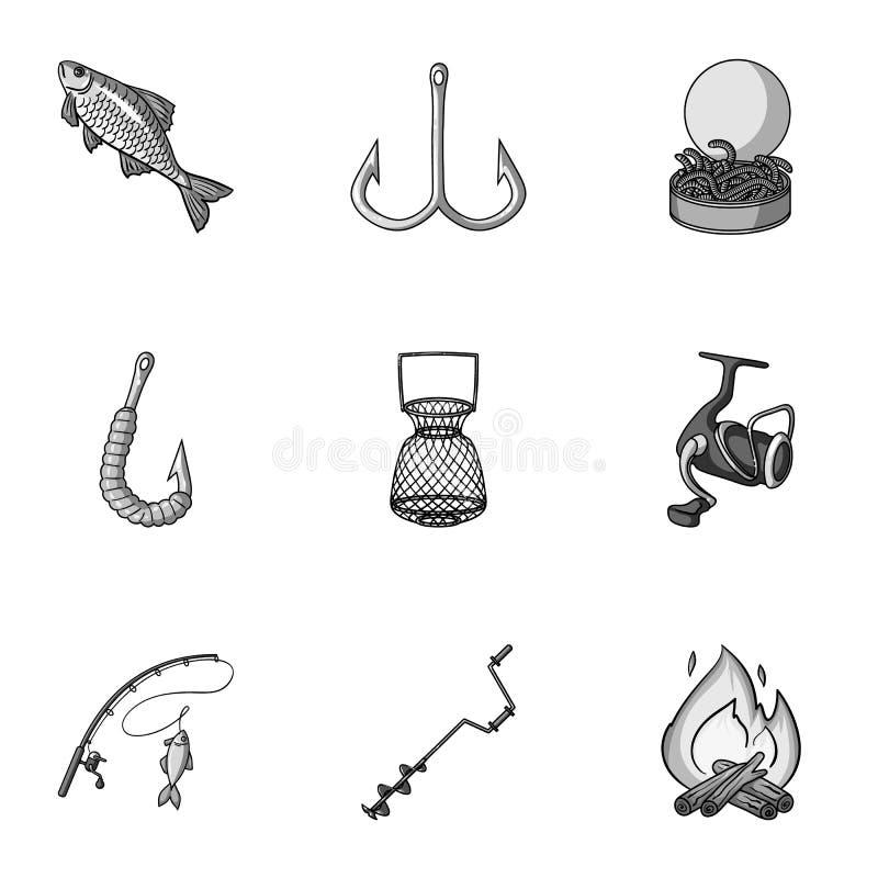 Рыбная ловля лета и зимы, внешнее воссоздание, рыбная ловля, рыба Значок рыбной ловли в собрании комплекта на monochrome векторе  иллюстрация штока