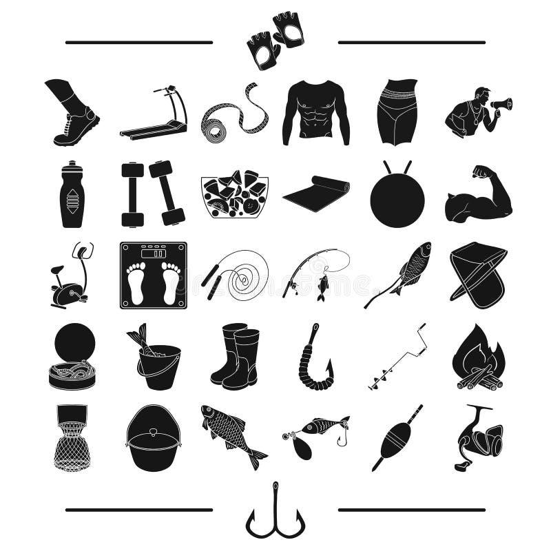 Рыбная ловля, звероловство, воссоздание и другой значок сети в черном стиле спорт, здоровье, значки конкуренций в собрании компле иллюстрация штока