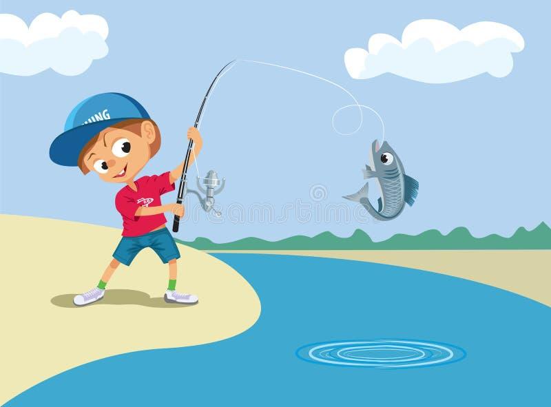 Рыбная ловля мальчика в реке иллюстрация вектора
