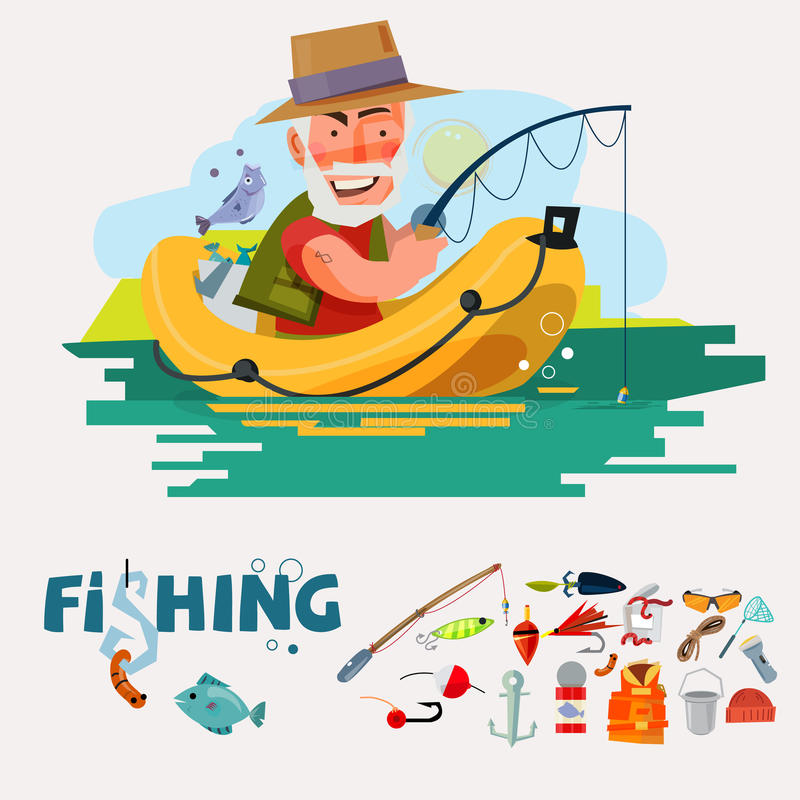 Рыбная ловля рыболова на шлюпке с удя оборудованием рыбозавод ic иллюстрация вектора