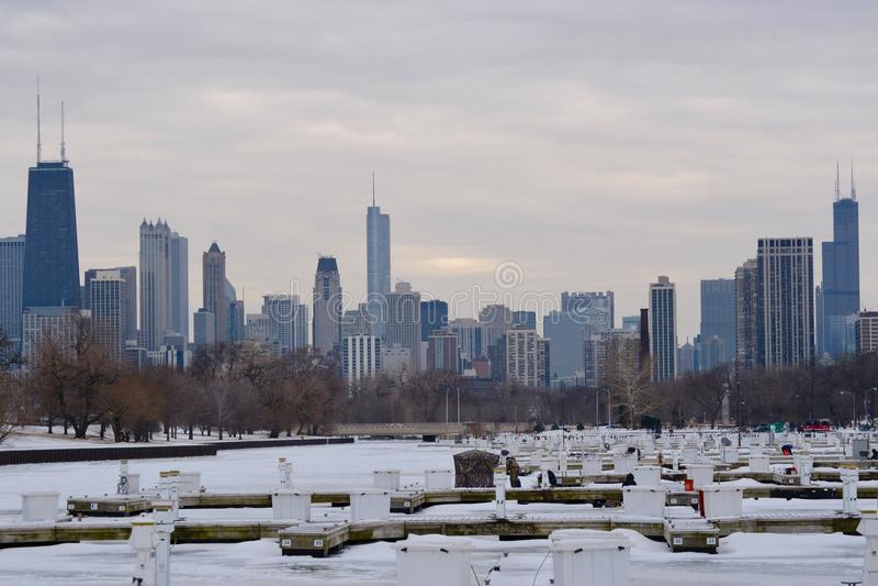 Рыбная ловля льда в Чикаго стоковое изображение