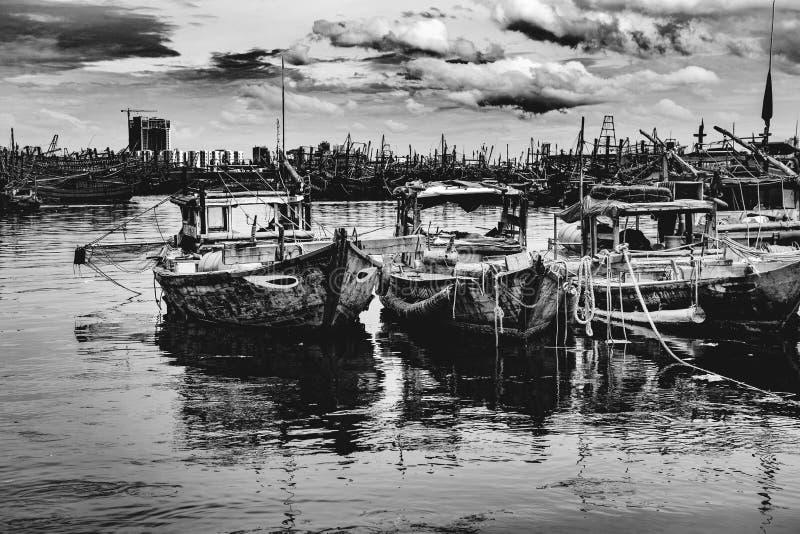 Рыбный порт в danang во Вьетнаме стоковое фото