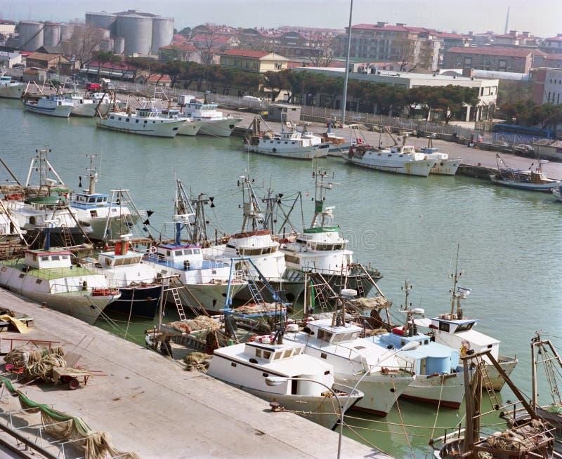 Рыболовецкие судна причаленные в речном порте в Pescara, Абруццо стоковое изображение