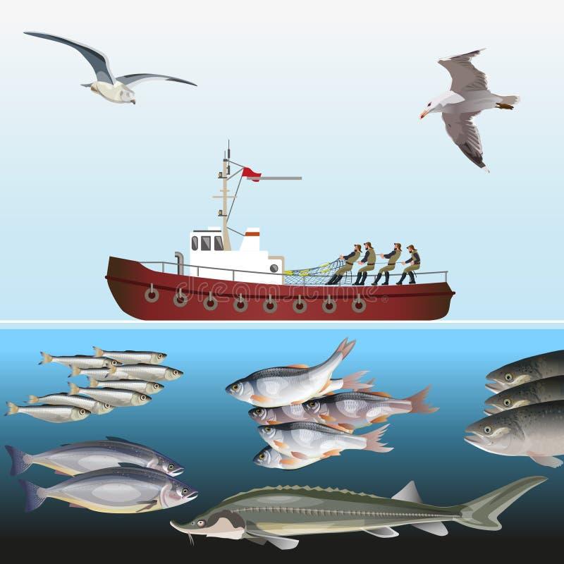 Рыболовецкое судно в море стоковая фотография rf