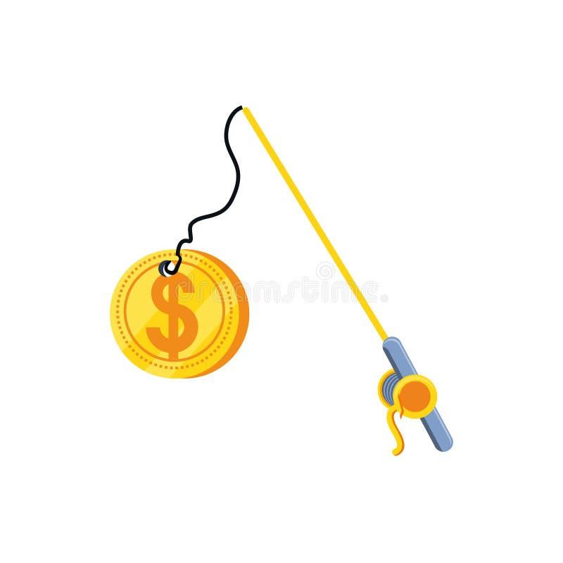 Рыболовная удочка с долларом монетки иллюстрация штока