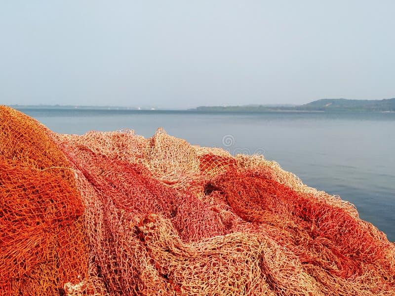 Рыболовные сети на острове в Goa стоковые фотографии rf