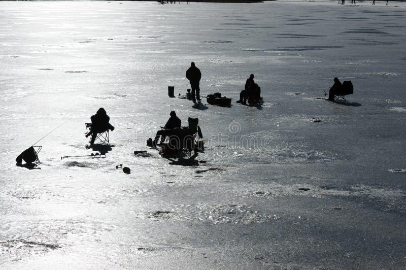 Рыболовство льда стоковое изображение