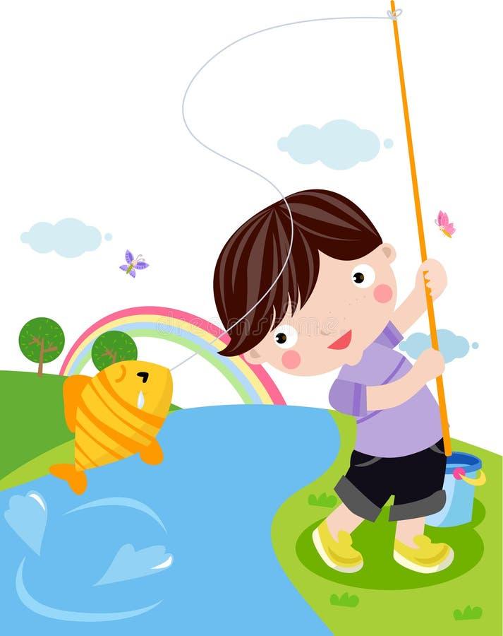 рыболовство мальчика иллюстрация вектора