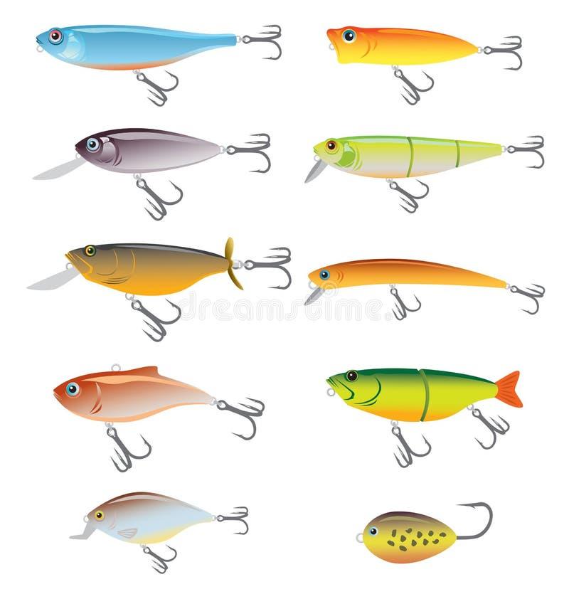 рыболовство приманки иллюстрация вектора