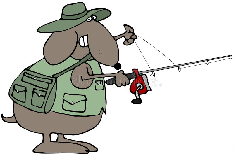 рыболовство собаки иллюстрация вектора