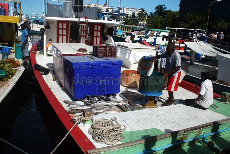 рыболовство maldivian шлюпки стоковые изображения rf