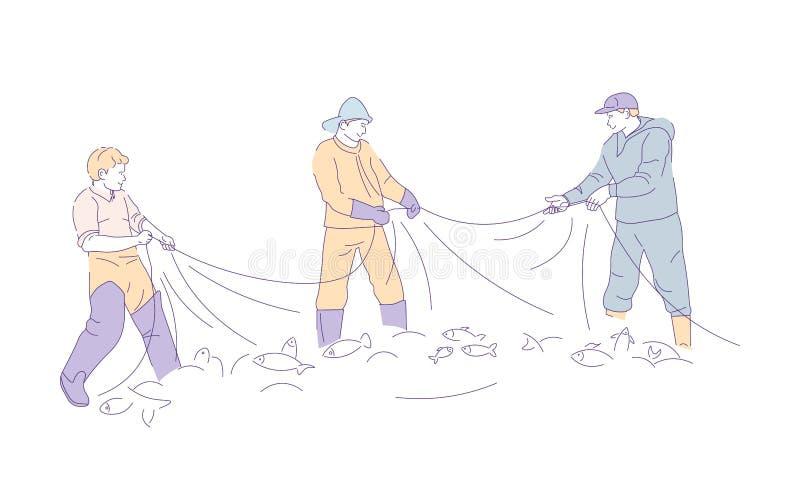 Рыболовы рыболовной сети в gumboots улавливая рыб иллюстрация штока