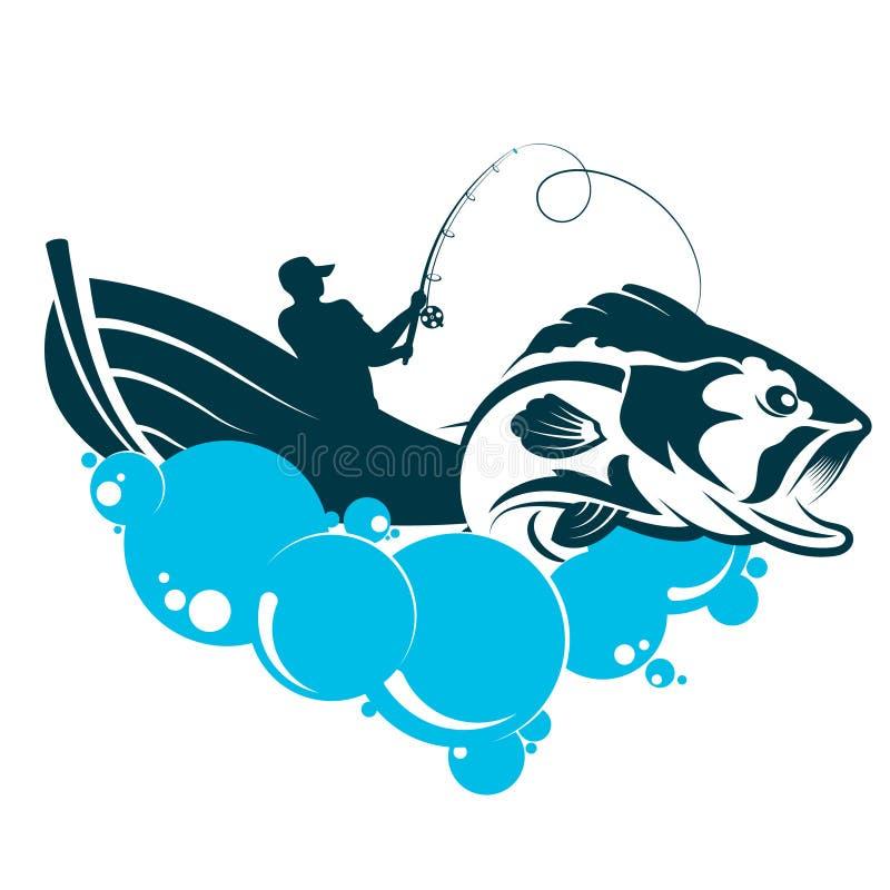 Рыболов в шлюпке удит иллюстрация штока