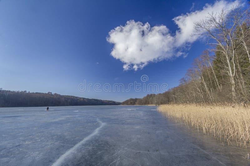 Рыболов на льде в солнечном зимнем дне на озере леса стоковые изображения