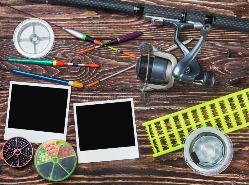 Рыболовные снасти и photoframe стоковое фото rf