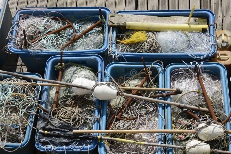 Рыболовные снасти, сети, линии, плавают стоковая фотография rf