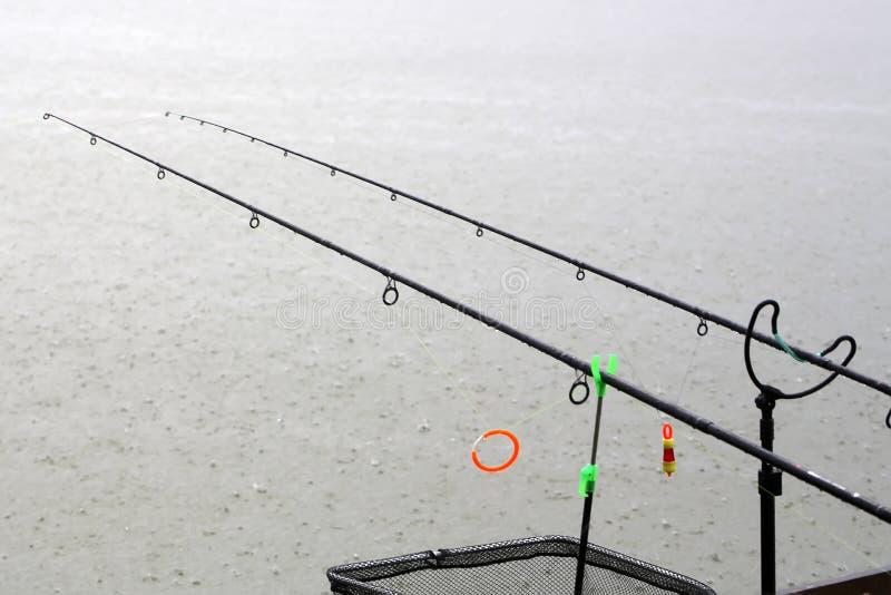 Рыболовные удочки в ненастной погоде стоковая фотография rf