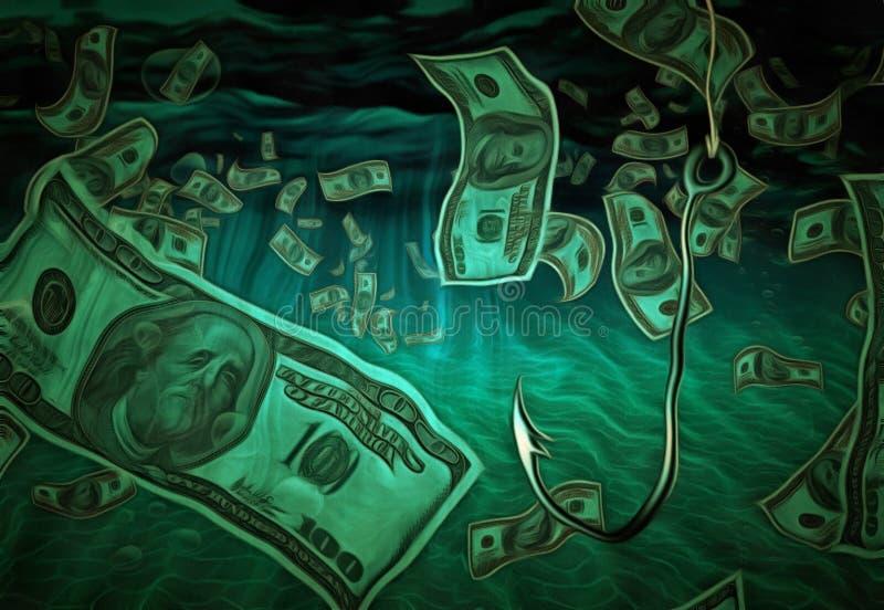Рыболовный крючок в воде валюты иллюстрация вектора