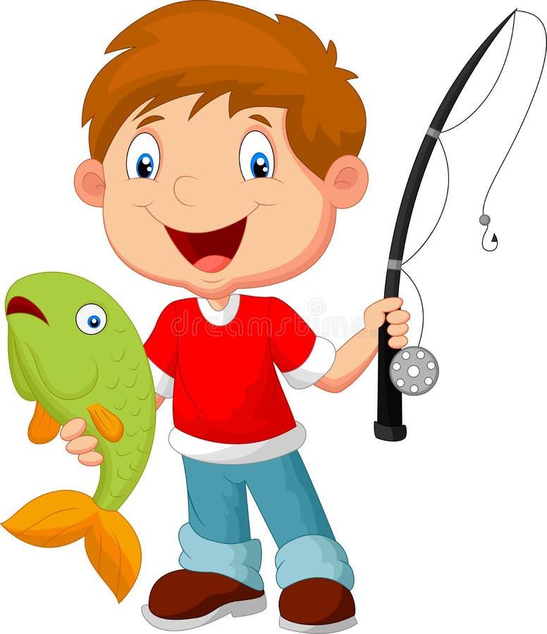 рыболовство мальчика немногая бесплатная иллюстрация
