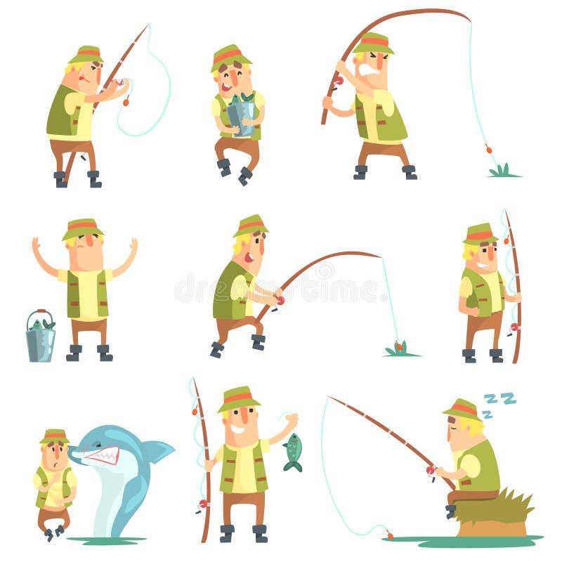 Рыболов в различных смешных ситуациях установленных иллюстраций иллюстрация штока