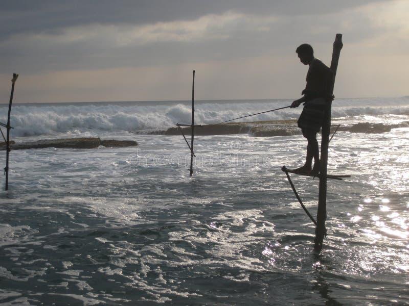 Рыболов в Шри-Ланке стоковое изображение