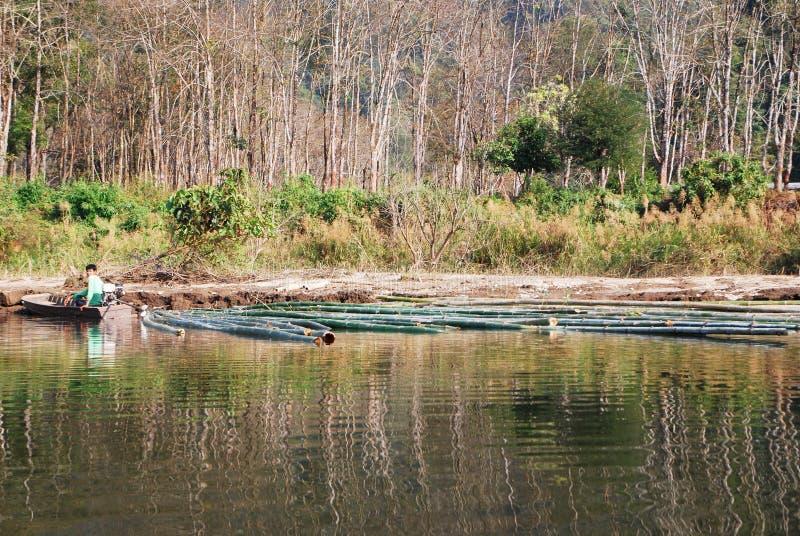 Рыболов и бамбук стоковое изображение rf