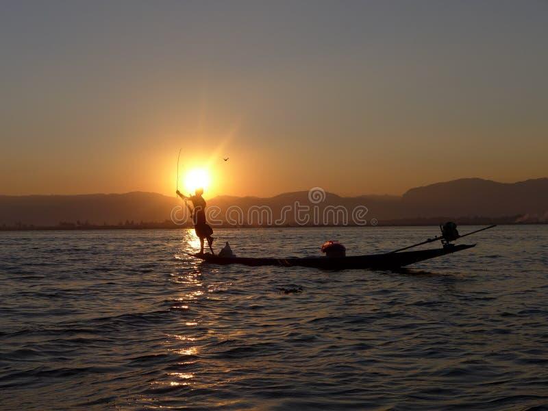 Рыболов Мьянма стоковая фотография rf