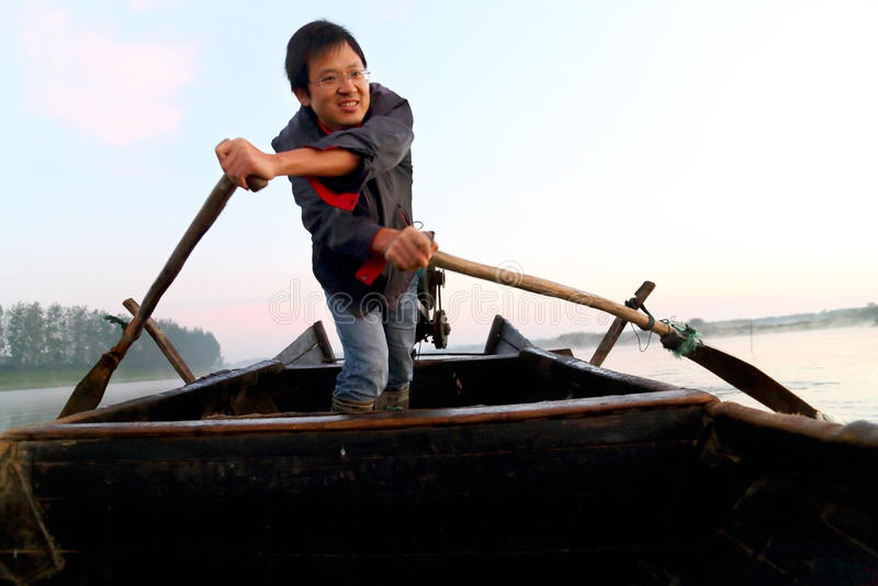 Рыболов счастья стоковое изображение