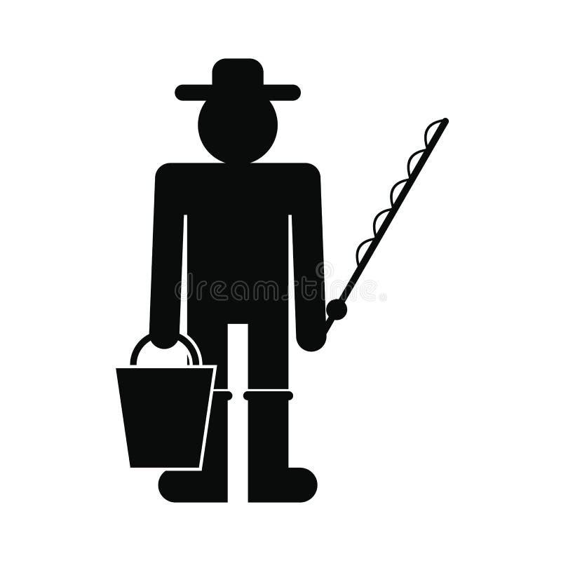 Рыболов с значком ведра и рыболовной удочки бесплатная иллюстрация