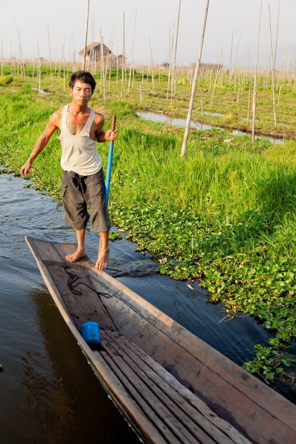 Рыболов Intha, озеро Inle, Мьянма стоковое изображение