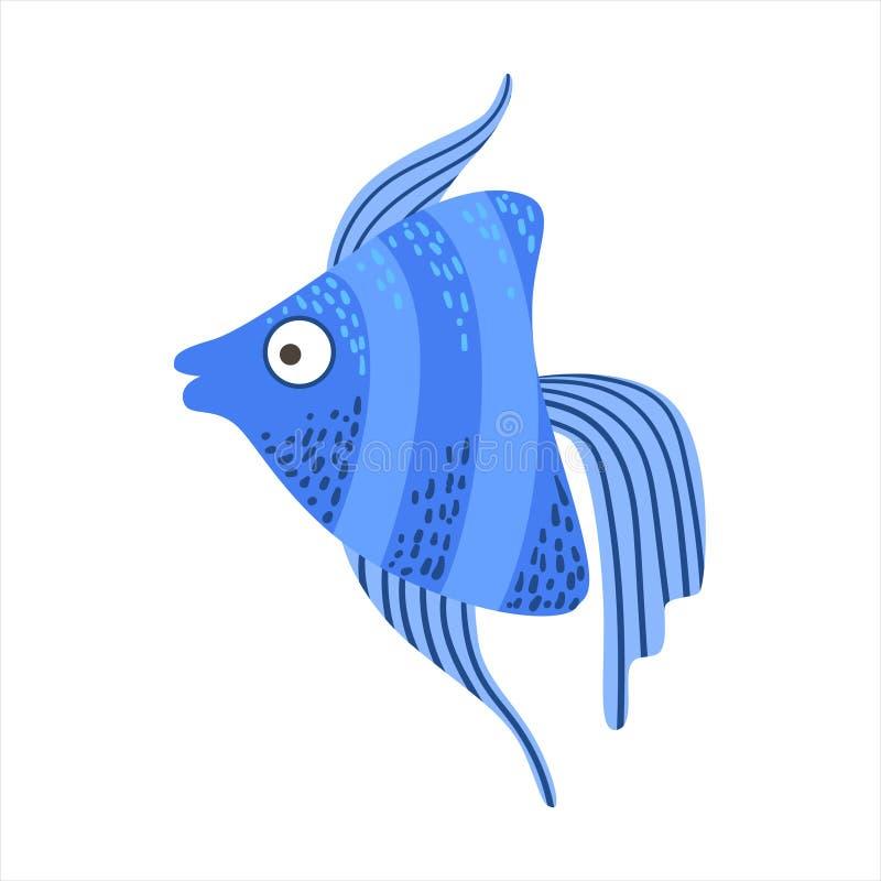 Рыбы аквариума голубого Stripy Angelfish фантастические красочные, животное тропического рифа акватическое бесплатная иллюстрация